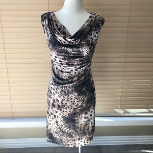 VELVET Brand Leopard Ruched Cowl Knit Dress